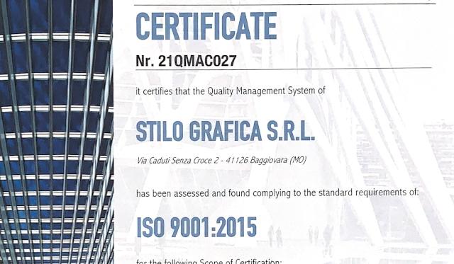 Read more about the article AZIENDA CERTIFICATA ISO 9001:2015