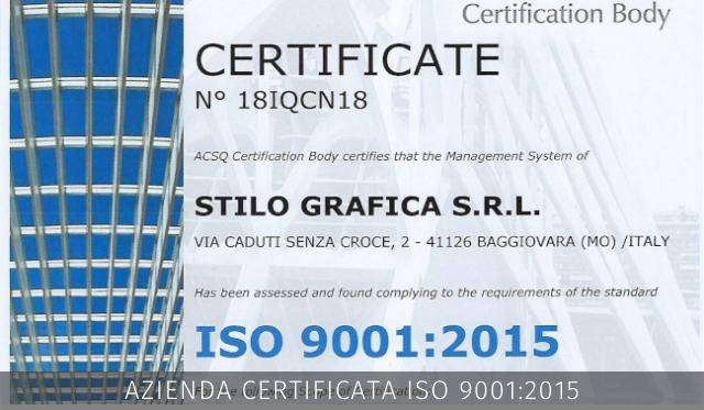 stilo grafica certificato iso 9001